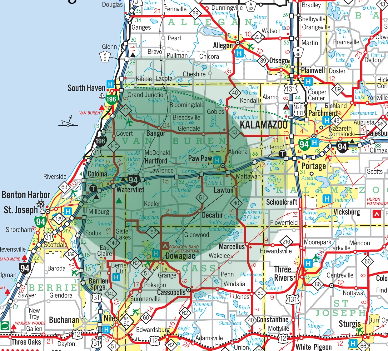 here's a map where we rent jet skis in southwest michigan